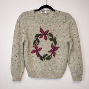 Vintage Suburban Petites Oatmeal Floral Sweater